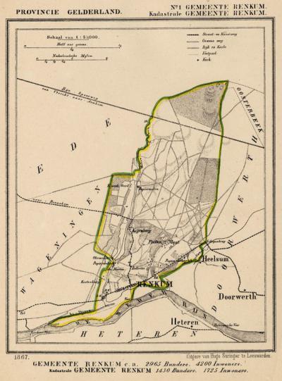 Gemeente Renkum anno ca. 1870, kaart J. Kuijper, exclusief de in 1818 opgeheven gemeente Oosterbeek