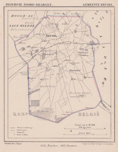 Gemeente Reusel anno ca. 1870, kaart J. Kuijper (© www.atlasenkaart.nl)