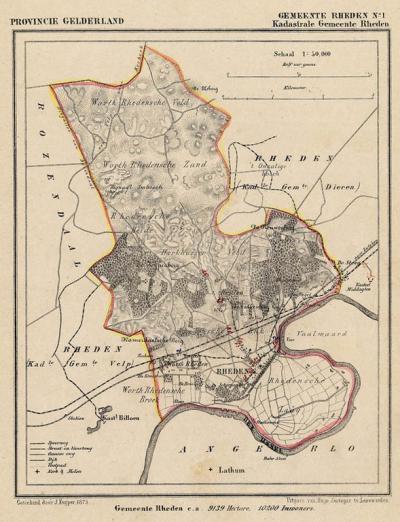 Gemeente Rheden anno ca. 1870, kaart J. Kuijper, exclusief de in 1818 opgeheven gemeenten Dieren en Velp