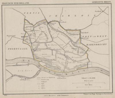 Gemeente Rhoon in ca. 1870, kaart J. Kuijper (© www.atlasenkaart.nl)