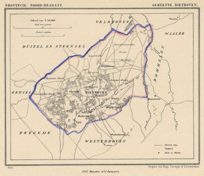 Gemeente Riethoven anno ca. 1870, kaart J. Kuijper (collectie www.atlasenkaart.nl)