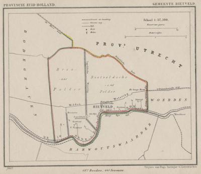 Gemeente Rietveld anno ca. 1870, kaart J. Kuijper (collectie www.atlasenkaart.nl)