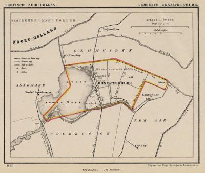 Gemeente Rijnsaterwoude anno ca. 1870, kaart J. Kuijper (collectie www.atlasenkaart.nl)