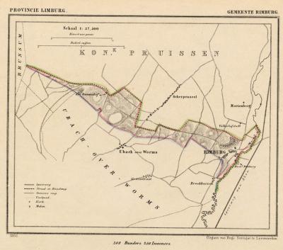 Gemeente Rimburg anno ca. 1870, kaart J. Kuijper (collectie www.atlasenkaart.nl)