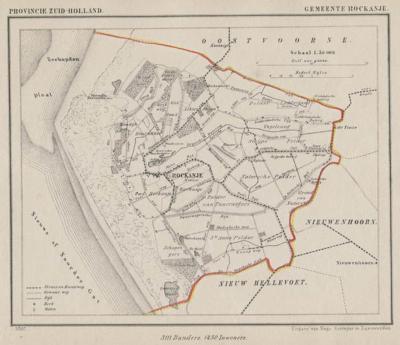 Gemeente Rockanje anno ca. 1870, kaart J. Kuijper (collectie www.atlasenkaart.nl)