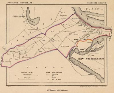 Gemeente Rossum anno ca. 1870, kaart J. Kuijper