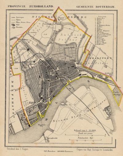 De oude gemeente Rotterdam (hier anno 1865, kaart J. Kuijper) omvatte niet veel meer dan wat we nu het centrum noemen, was slechts ca. 700 hectare groot, met ca. 100.000 inwoners, vóór de vele grenscorrecties en annexaties die vanaf 1886 zijn begonnen.