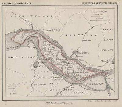 Gemeente Rozenburg anno ca. 1870, kaart J. Kuijper (collectie www.atlasenkaart.nl)