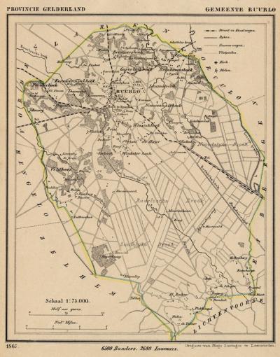 Gemeente Ruurlo anno ca. 1870, kaart J. Kuijper