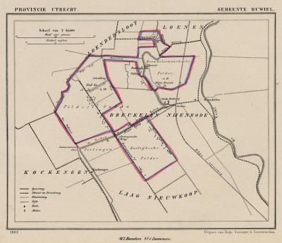 Gemeente Ruwiel anno ca. 1870, kaart J. Kuijper