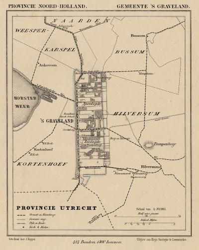 Gemeente 's-Graveland anno ca. 1870, kaart J. Kuijper (collectie www.atlasenkaart.nl)