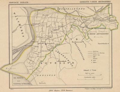 Gemeente 's-Heer Arendskerke anno ca. 1870, kaart J. Kuijper (collectie www.atlasenkaart.nl)