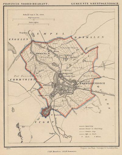 Gemeente 's-Hertogenbosch anno ca. 1870, kaart J. Kuijper (collectie www.atlasenkaart.nl)