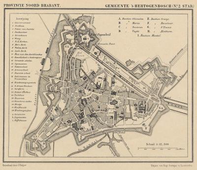 Stad 's-Hertogenbosch anno ca. 1870, kaart J. Kuijper (collectie atlasenkaart.nl)