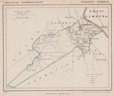 Gemeente Sambeek anno ca. 1870, kaart J. Kuijper (collectie www.atlasenkaart.nl)