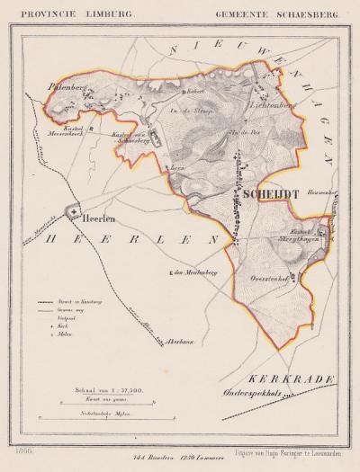 Gemeente Schaesberg in ca. 1870, kaart J. Kuijper (© www.atlasenkaart.nl)