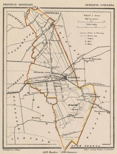 Gemeente Scheemda anno ca. 1870, kaart J. Kuijper (collectie www.atlasenkaart.nl)