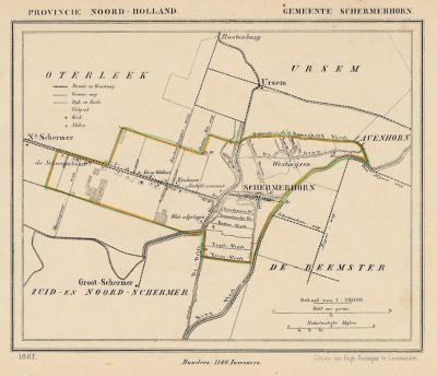 Gemeente Schermerhorn anno ca. 1870, kaart J. Kuijper (collectie www.atlasenkaart.nl)
