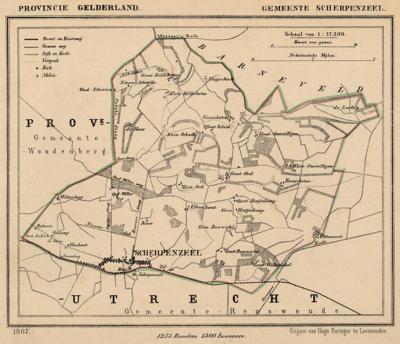 Gemeente Scherpenzeel anno ca. 1870, kaart J. Kuijper