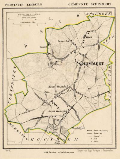 Gemeente Schimmert anno ca. 1870, kaart J. Kuijper (collectie www.atlasenkaart.nl)