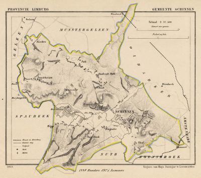 Gemeente Schinnen anno ca. 1870, kaart J. Kuijper (collectie www.atlasenkaart.nl)