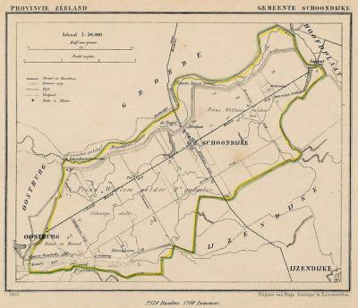 Gemeente Schoondijke anno ca. 1870, kaart J. Kuijper (collectie www.atlasenkaart.nl)