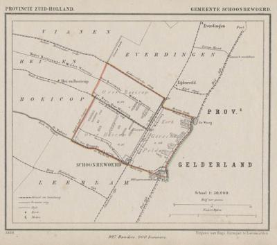 Gemeente Schoonrewoerd anno ca. 1870, kaart J. Kuijper (collectie www.atlasenkaart.nl)