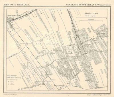 Gemeente Schoterland m.b.t. Oranjewoud anno ca. 1870, kaart J. Kuijper (collectie www.atlasenkaart.nl)