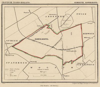 Gemeente Sijbekarspel anno ca. 1870, kaart J. Kuijper