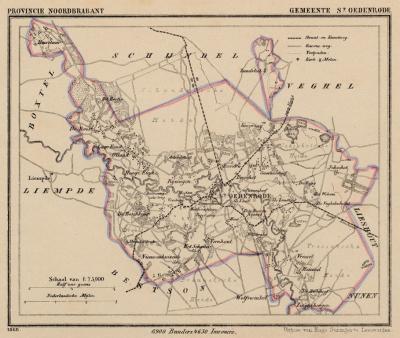 Gemeente Sint-Oedenrode anno ca. 1870, kaart J. Kuijper (© www.atlasenkaart.nl)