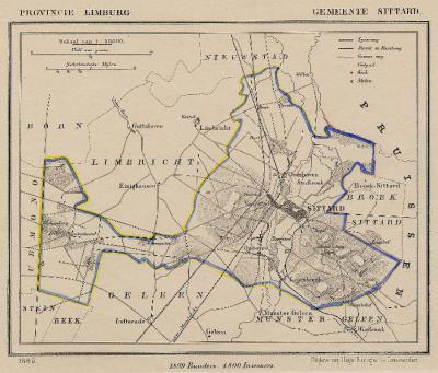 Gemeente Sittard anno ca. 1870, kaart J. Kuijper (collectie www.atlasenkaart.nl)