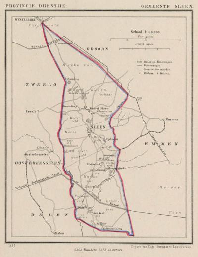 Gemeente Sleen anno ca. 1870, kaart J. Kuijper (collectie www.atlasenkaart.nl)