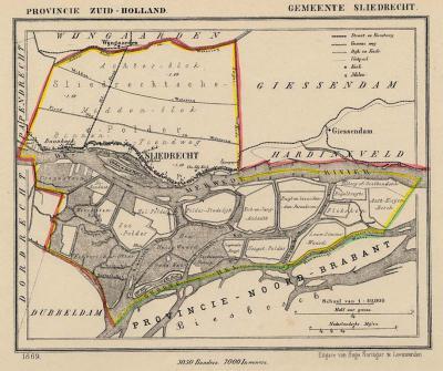 Gemeente Sliedrecht anno ca. 1870, kaart J. Kuijper (collectie www.atlasenkaart.nl)