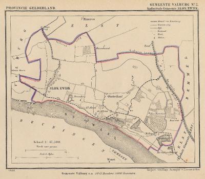 Kaart van de begin 19e eeuw opgeheven gemeente Slijk-Ewijk, situatie anno ca. 1870, kaart J. Kuijper