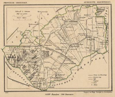 Gemeente Slochteren anno ca. 1870, kaart J. Kuijper (collectie www.atlasenkaart.nl)