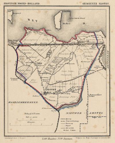 Gemeente Sloten (Noord-Holland) anno ca. 1870, kaart J. Kuijper (collectie www.atlasenkaart.nl)