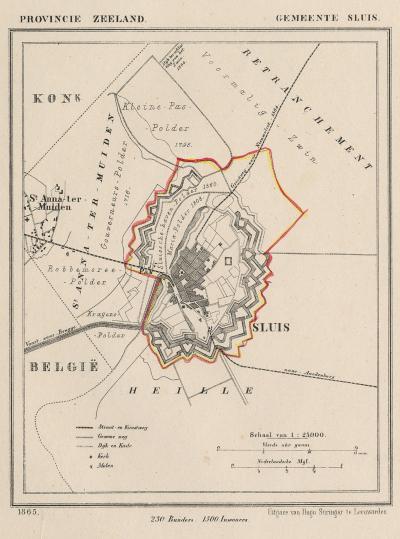 Gemeente Sluis anno ca. 1870, kaart J. Kuijper (collectie www.atlasenkaart.nl)