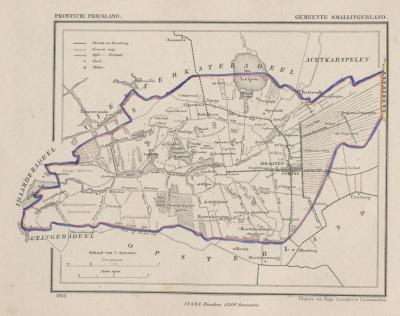 Gemeente Smallingerland anno ca. 1870, kaart J. Kuijper (collectie www.atlasenkaart.nl)