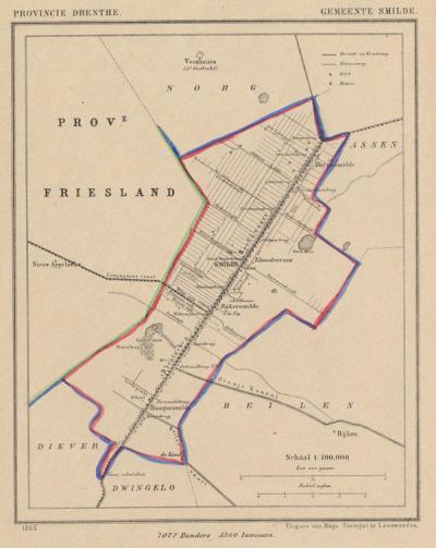 Gemeente Smilde anno ca. 1870, kaart J. Kuijper (collectie www.atlasenkaart.nl)