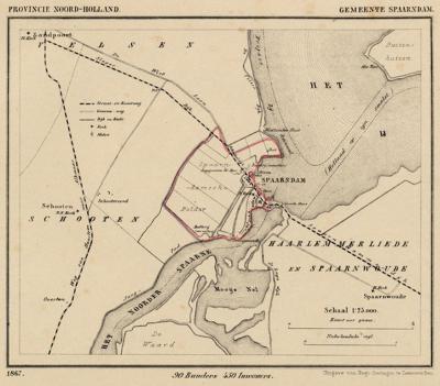 Gemeente Spaarndam anno ca. 1870, kaart J. Kuijper. Duidelijk te zien is dat gemeente en dorp Spaarndam alleen W van het Spaarne lagen. De latere uitbreiding Spaarndam-Oost is gerealiseerd op grondgebied van de gem. Haarlemmerliede en Spaarnwoude.