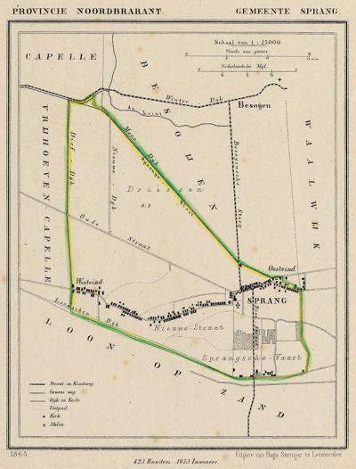 Gemeente Sprang anno ca. 1870, kaart J. Kuijper (© www.atlasenkaart.nl)
