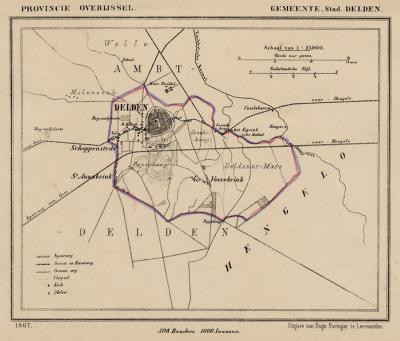 Gemeente Stad Delden anno ca. 1870, kaart J. Kuijper (collectie www.atlasenkaart.nl)