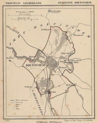 Gemeente Stad Doetinchem anno ca. 1870, kaart J. Kuijper