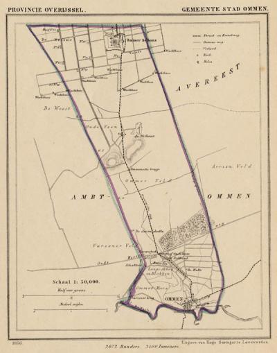 Gemeente Stad Ommen anno ca. 1870, kaart J. Kuijper (collectie www.atlasenkaart.nl)