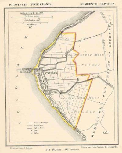 Gemeente Stavoren anno ca. 1870, kaart J. Kuijper (collectie www.atlasenkaart.nl)
