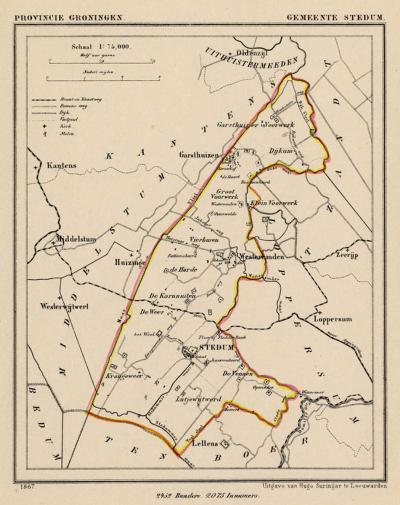 Gemeente Stedum anno ca. 1870, kaart J. Kuijper (collectie www.atlasenkaart.nl)