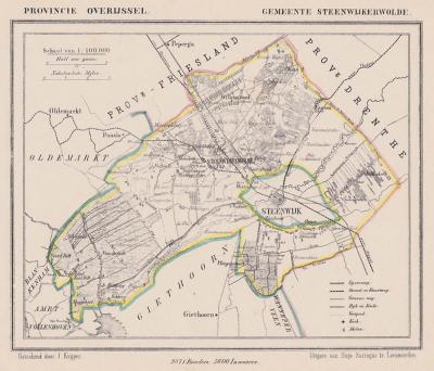Gemeente Steenwijkerwold anno ca. 1870, kaart J. Kuijper. Het was een uitgestrekte gemeente die de stad en gemeente Steenwijk omringde. De gemeente omvatte een grote reeks buurtschappen, zie daarvoor het hoofdstuk Geschiedenis. (© www.atlasenkaart.nl)