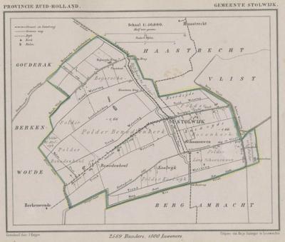 Gemeente Stolwijk anno ca. 1870, kaart J. Kuijper (collectie www.atlasenkaart.nl)