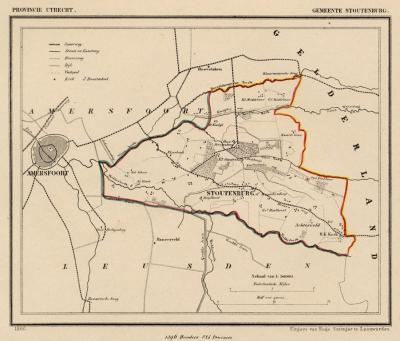 Gemeente Stoutenburg anno ca. 1870, kaart J. Kuijper (© www.atlasenkaart.nl)