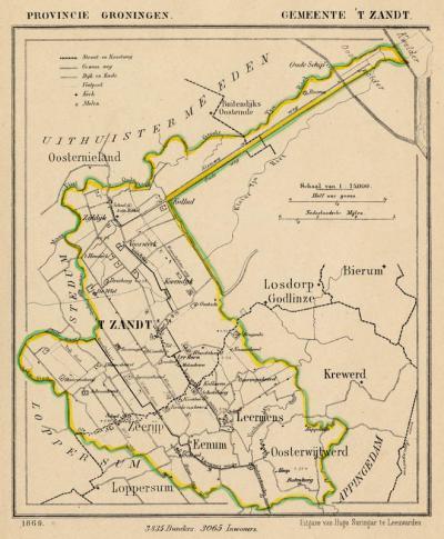 Gemeente 't Zandt anno ca. 1870, kaart J. Kuijper (collectie www.atlasenkaart.nl)